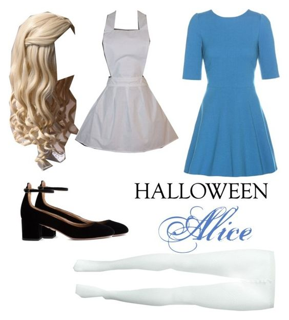 """Alice"" by hanny01h ❤ liked on Polyvore featuring Comme des Garçons, Dolce&Gabbana, Aquazzura, halloweencostume and DIYHalloween"