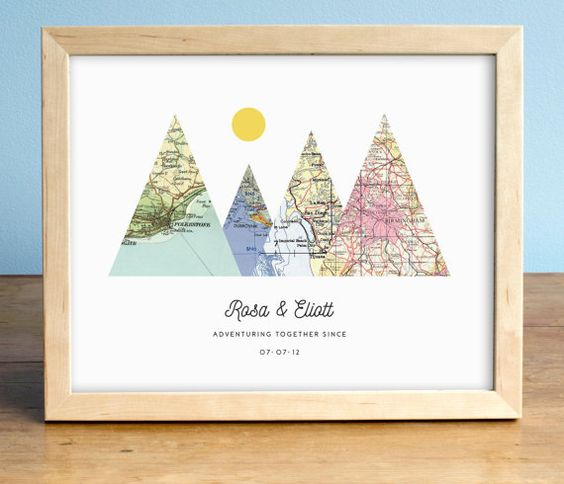 This is such a cute wedding or anniversary gift for adventurous couples! --- Adventure Together Print 4 Personalized Map Mountain Print by AGierDesign --  This is my original trademarked design! We have over 2000 five star reviews on Etsy :). Shop our secure Shopify website