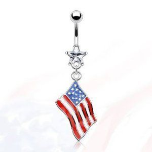 """14g Dangling Flag of America Sexy Belly Button Navel Ring Dangle Body Jewelry Piercing with Clear Star Cz and Surgical Steel Bar 14 Gauge 3/8"""" Nemesis Body JewelryTM by Nemesis Body JewelryTM, http://www.amazon.com/dp/B006K4MGOI/ref=cm_sw_r_pi_dp_TEejrb0D0XSX1"""
