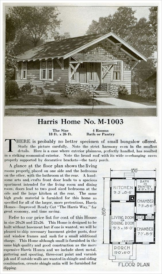 In 468 Sq Ft M 1003 Of The 1920 Harris Homes Catalog