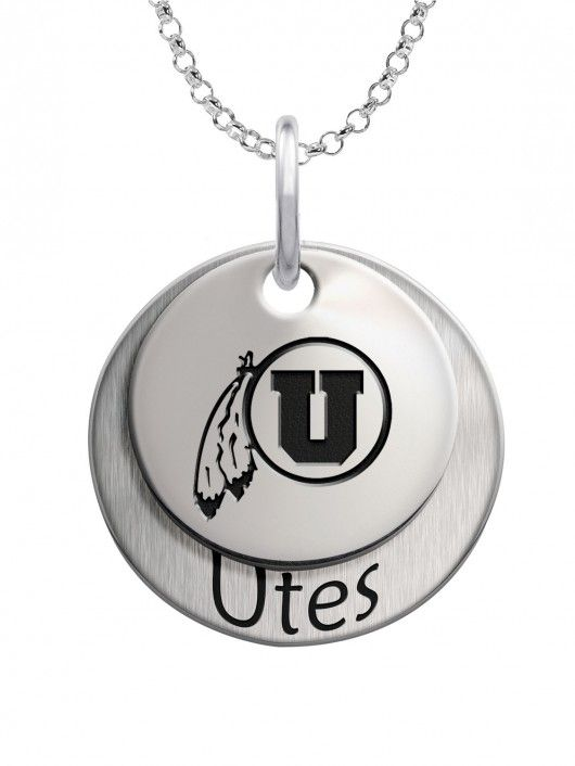 "Utah Utes High Quality Sterling Silver Double Stack Necklace  Large Charm Measures 17mm  16"" Chain with 2"" Extender Included  Bottom charm is brush finished for contrast  #College #Jewelry #Utah #Utes #SterlingSilver #DoubleStack  #Necklace"
