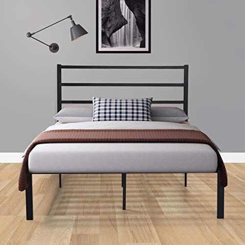 Sandinrayli Black Metal Platform Bed Frame With Wooden Slats Full