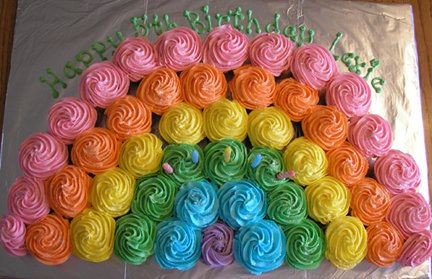 Cupcake rainbow.  I thought of this idea this morning--then found it online!  Can't wait to make it.