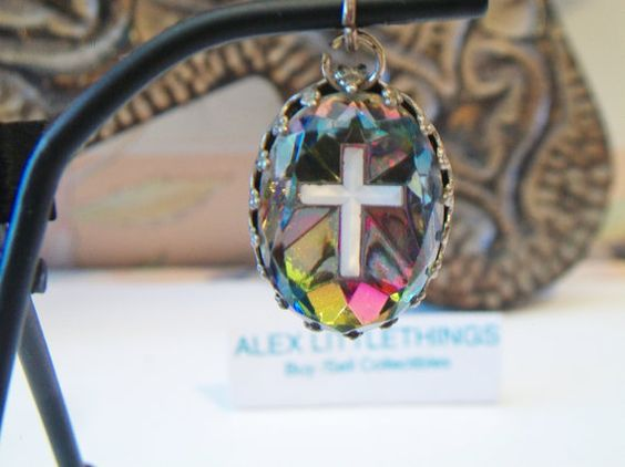 Vintage Oval Cross Pendant Watermelon Glass by ALEXLITTLETHINGS