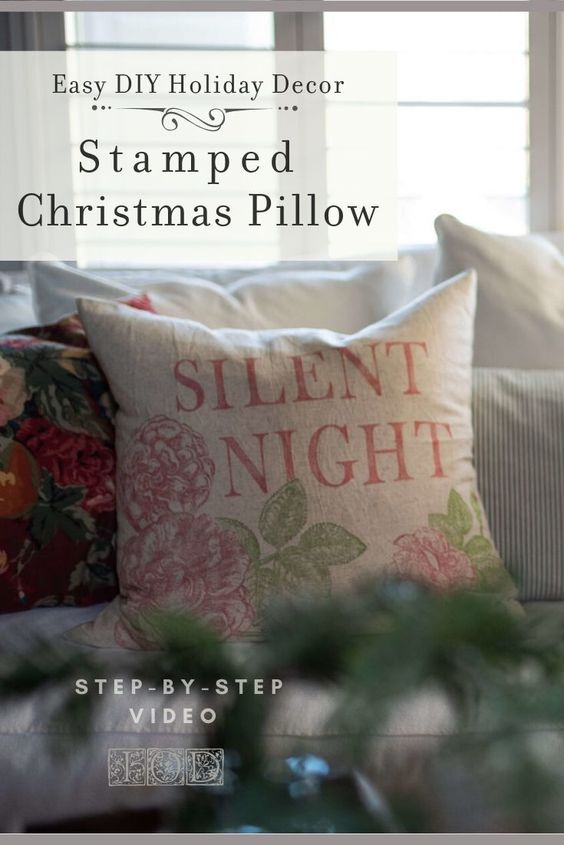 Check out this no sew DIY pillow cover project using Iron Orchid Designs stamps. Make as easy DIY holiday decor or give as a handmade Christmas gift this season. In this video tutorial, the IOD sisters show you step-by-step how to DIY Christmas pillow covers. #DIYHolidayDecor #DIYHomeDecor #DIYPillowCovers