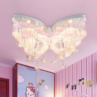 Butterfly LED Chandelier Girls Bedroom Hanging Crystal Flush