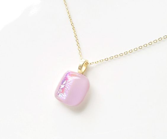 Pink Pendant Necklace and gold filled chain