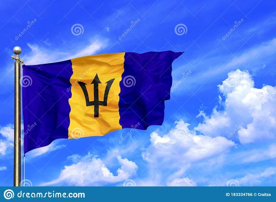 Barbados Blue Yellow Black Trident National Flag Waving In The Wind On A Beautiful Summer Blue Sky In 2020 Summer Blue Beautiful Summer Blue Yellow
