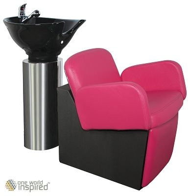 owi loire stainless steel salon bowl cylinder with epsilon chair