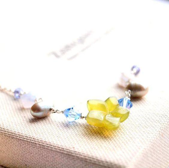 Green blue necklace natural peridot semi precious and blue swarovski