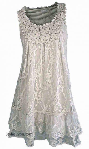 AP Anita Antique Lace Tunic In White