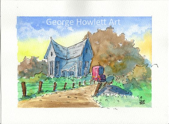 Farmyard House original watercolour painting 10 by TheShopOfGeorge