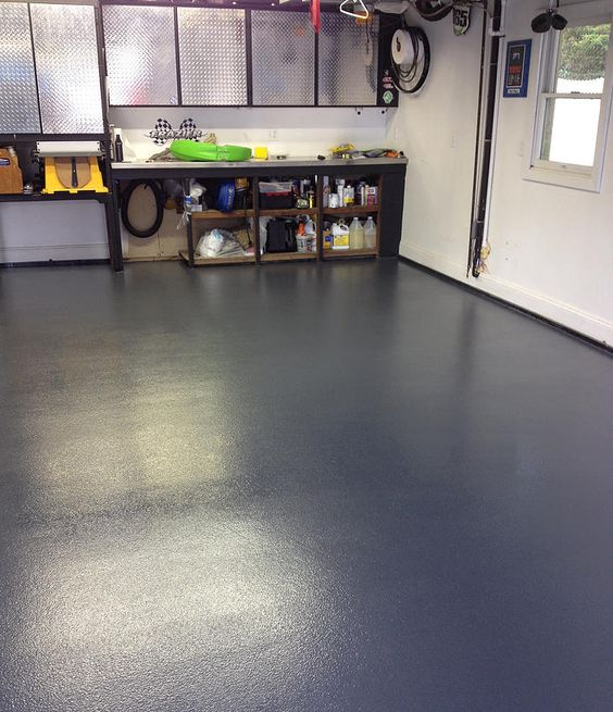 finished a non slip chemically resistant concrete garage floor. Black Bedroom Furniture Sets. Home Design Ideas
