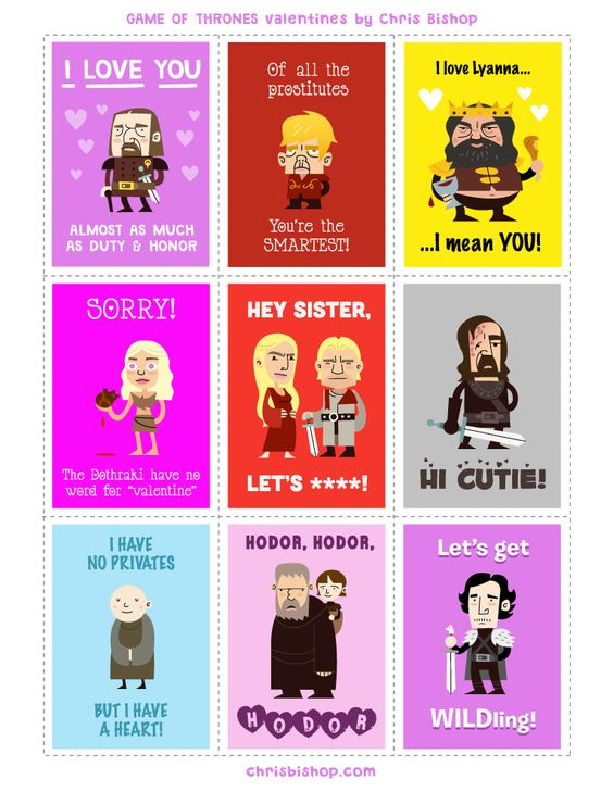 Game of Thrones Valentines. My icy heart might just be melting here.