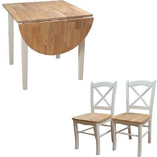 Efd 2 Person Dining Set Wooden White Natural Rustic Two Tone Dropleaf Table Two Chairs Small Nook Corner Kitchen Dining Dining Table Table And Chair Sets Table
