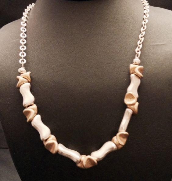 Sterling silver and gold filled odd shape beads 19 inches ling by LisaWiedebushJewelry on Etsy