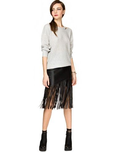 Leather skirt fringe – Fashion clothes in USA photo blog
