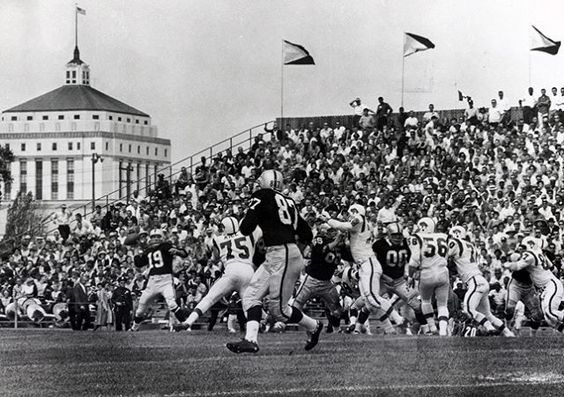 . Who knew that the Raiders played on the current day Laney campus? #oaklandhistory Excerpt from Wikipedia: Frank Youell Field was a football stadium in the western United States, located in Oakland, California. It was the home of the Oakland Raiders of the American Football League from 1962 to 1965.  The stadium was a temporary home while Oakland-Alameda County Coliseum was being built; it seated 22,000 and cost $400,000 to build. The facility was named for Francis J. Youell (1883-1967), an…
