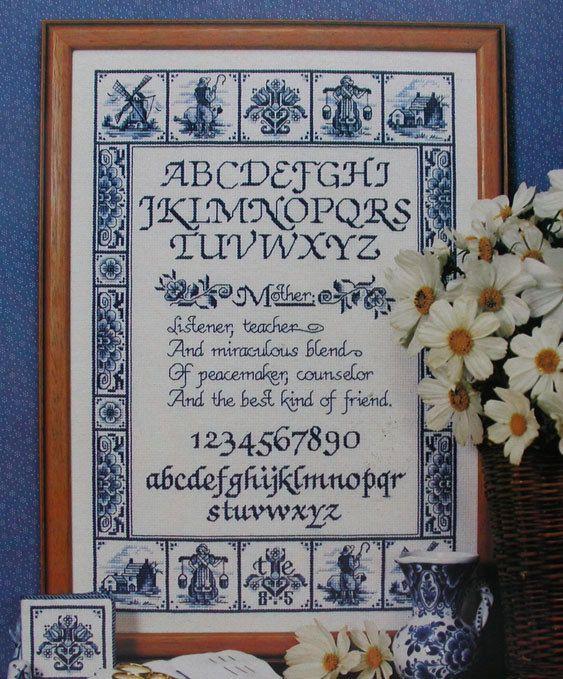 Delft Blue Mother's Day Tile Sampler Cross Stitch Pattern | eBay