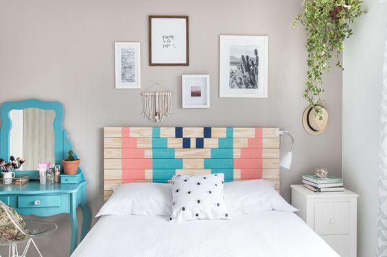 Meu quarto e uma cabeceira DIY: