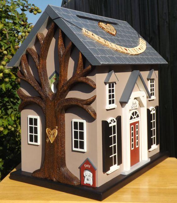 Large Wedding Card Box Birdhouse with Heart Carved Tree – Large Wedding Card Box