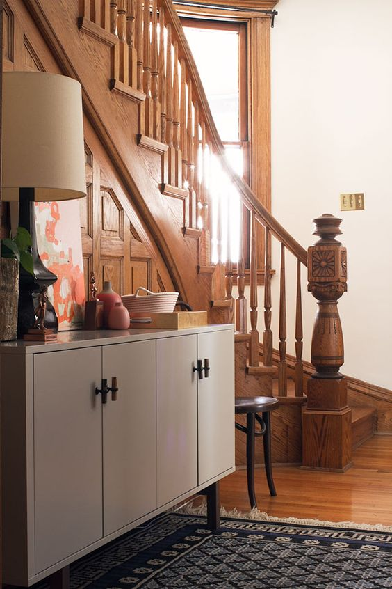 the entryway with its new sideboard making it lovely decor gray main floor ideas. Black Bedroom Furniture Sets. Home Design Ideas
