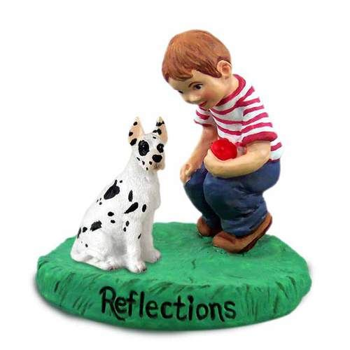 Great Dane Harlequin with Cropped Ears and Boy Figurine