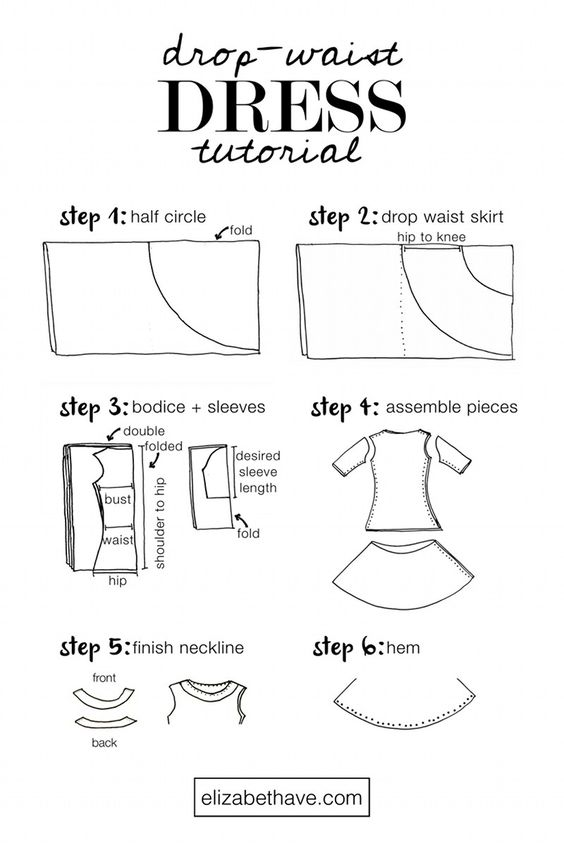 Drop Waist Dress Tutorial | Learn how to sew your own dress with a chic, trendy drop waist. It's a quick DIY project that can be done in a weekend and it's ridiculously fun to twirl in. | www.elizabethave.com