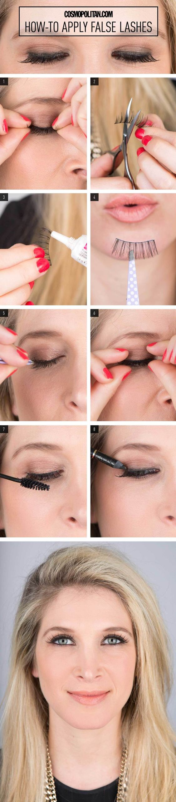HOW TO APPLY FALSE LASHES: If you'd like to throw on a set of falsies to make your lashes flirtier, but don't because the task just seems too daunting, you're in luck. Makeup artist Lauren Cosenza breaks down exactly how to apply false lashes flawlessly. Grab some false lashes, scissors, glue, mascara, and tweezers, and click through to read the simple and easy false eyelash beauty tutorial.
