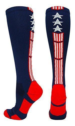 MadSportsStuff Patriot USA Flag Stars and Stripes Over the Calf Socks