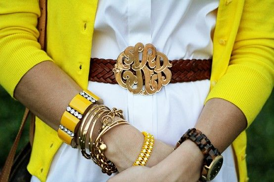 Monogrammed belt buckle + arm candy galore: Monogram Obsession, Monogrammed Buckle, Monogramed Belt, Monogram Madness, Monogram Belt, Monogram Buckle, Yellow Cardigan, Monogrammed Belt, Belt Buckles