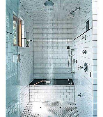 Subway Tile Shower Ceiling Tile Wall Tile Bathrooms Pinterest Shower