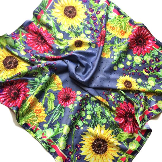 Silk effect scarf with floral pattern ~ colour pop square scarf ~ sunflower fashion accessory ~ birthday, mothers day, friend present ~ by BitterLimeDesigns on Etsy https://www.etsy.com/uk/listing/471247671/silk-effect-scarf-with-floral-pattern