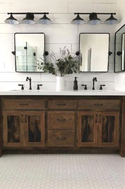 99 Cute Farmhouse Bathroom Remodel Ideas On A Budget 99bestdecor Rustic Bathroom Designs Rustic Bathroom Decor Bathroom Inspiration