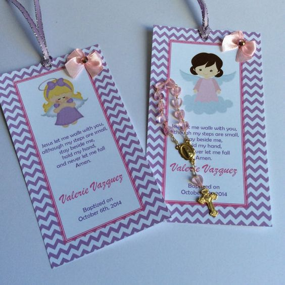 12 baptism favors with mini rosaries-girl by Nandospartysupply