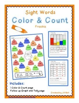 Sight Words Color & Count Freebie  Integrate sight word practice with counting and recording numbers 1-10 using a graph or tally.     This Color & Count page focuses on the following sight words: do, can, could, when, did