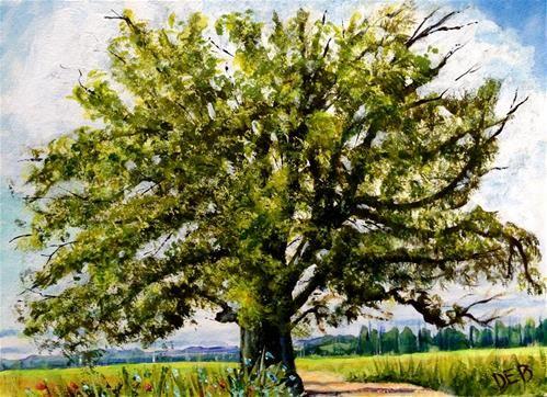 "Daily Paintworks - ""Oak by Side of Road"" - Original Fine Art for Sale - © Debbie Yacenda"