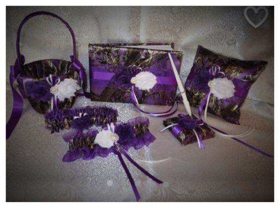 Camo Wedding Set, Wedding Flower Girl Basket, Wedding Pillow, Wedding Guest Book, Pen, Wedding Garter, True Timber Purple Camo Wedding Set by TheMomentWeddingBout on Etsy