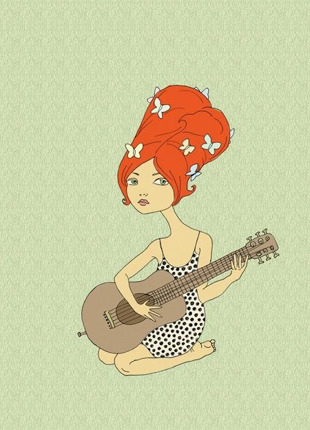 This indie rock chick lives in my bathroom - Guitar Girl Art Print by Courtney Oquist. $15.00, via Etsy.