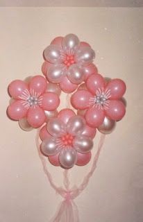 """Ideas, locuras y creaciones"": Lindos arreglos con globos en forma de  flores globos rosa blanco nacar +++ PINK WHITE FLOWER BALLOON PARTY DECOR WEDDING QUINCEANERA"