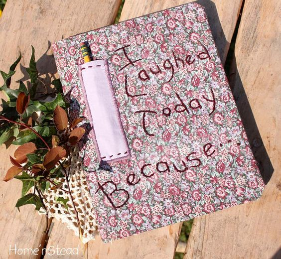 Journal Hand Embroidered Diary Fabric Covered by HomenStead, $26.00