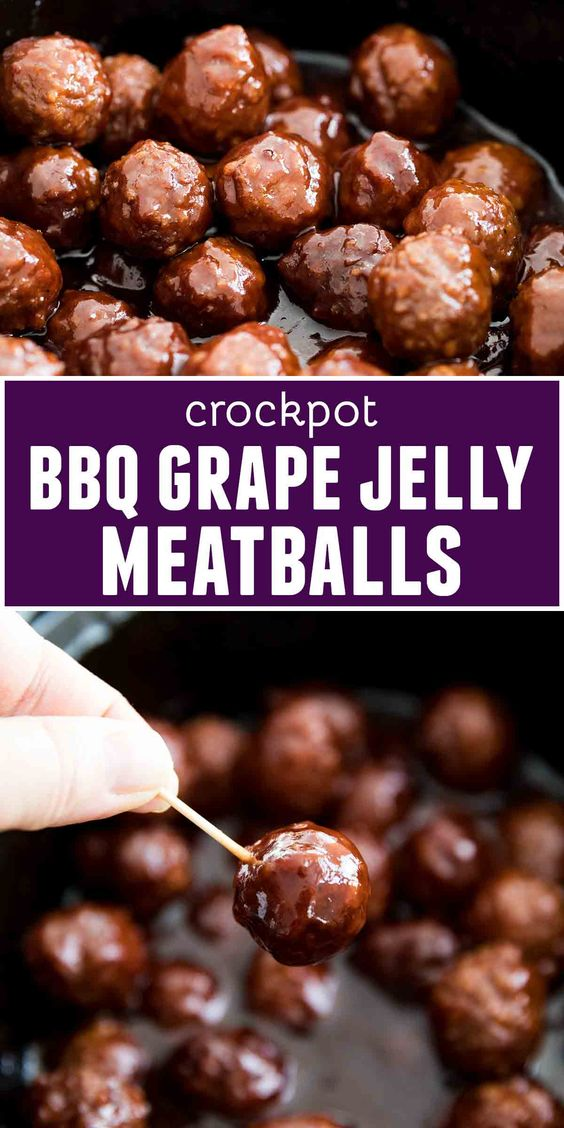 Both sweet and savory, these Crockpot BBQ Grape Jelly Meatballs are always a crowd favorite. They require only 3 ingredients and a couple of minutes of hands on time, then let them cook in the slow cooker until party time. #appetizer #crockpot #slowcooker #meatballs #grapejellymeatballs