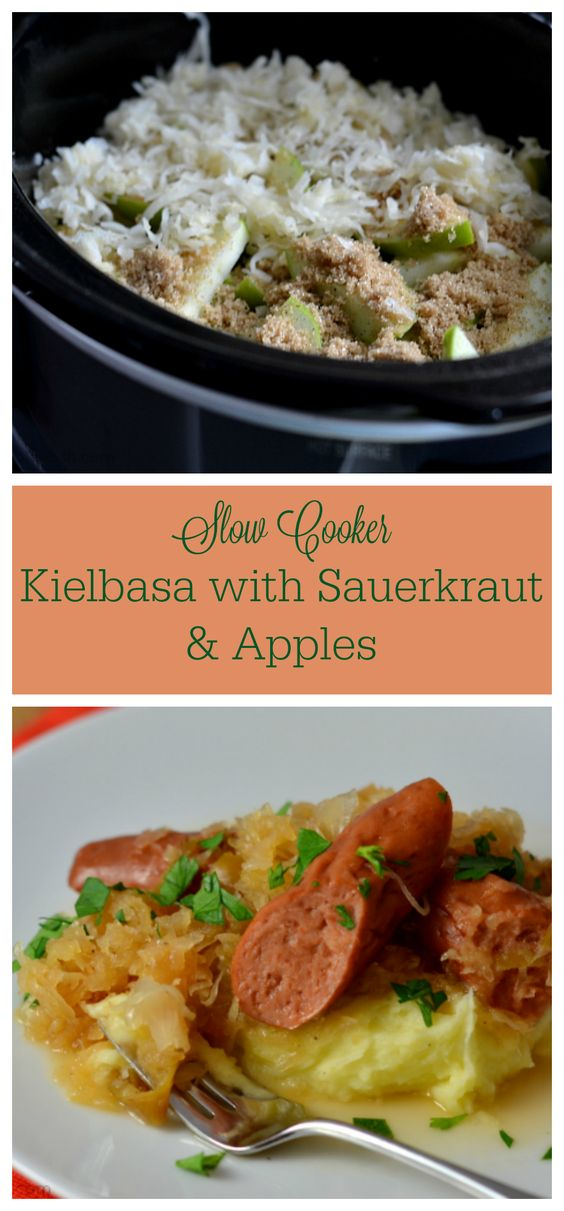 Slow Cooker Kielbasa with Sauerkraut & Apples - Chew Nibble Nosh