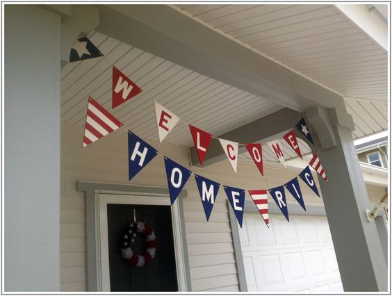 Custom welcome home pennant banner by CountryCreativeWY on Etsy https://www.etsy.com/listing/155650198/custom-welcome-home-pennant-banner