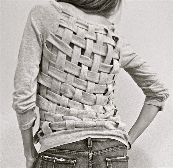 A stylish use for old tees: a basket-weave top.