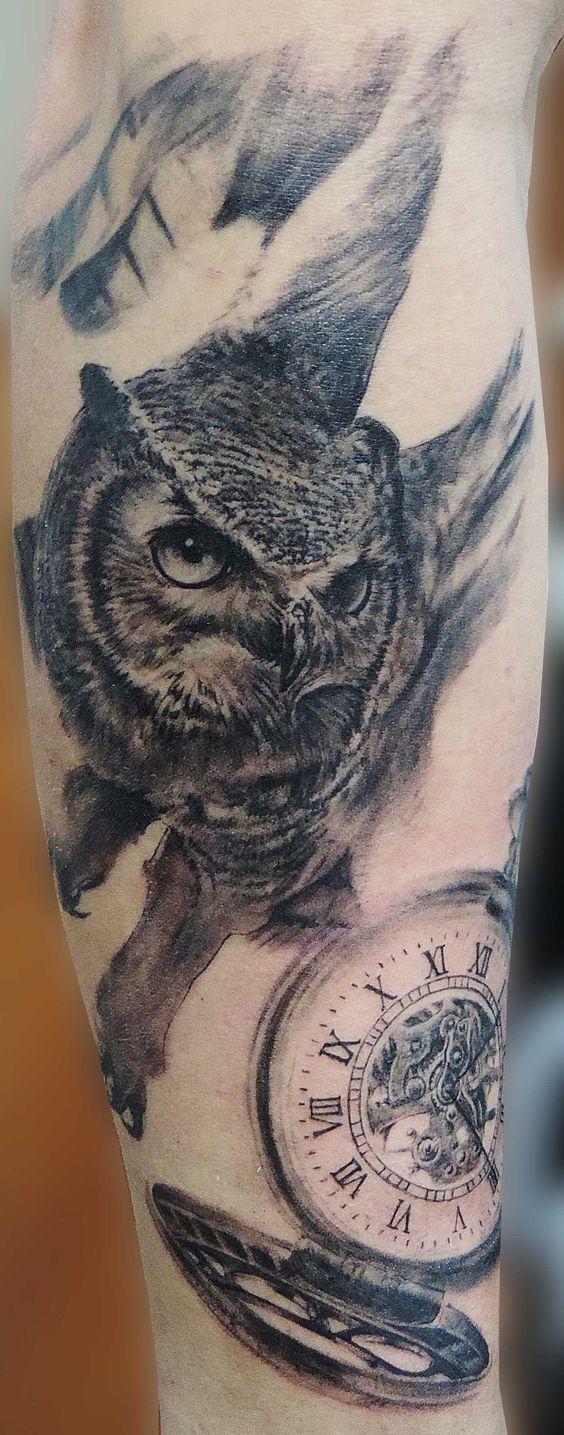 Owl and pocket watch tattoo, full sleeve in progress. Tattoo Búho y reloj de