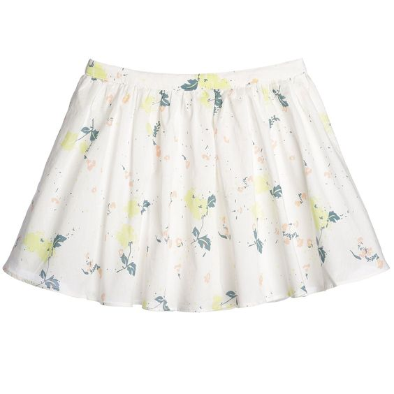 Ivory Cotton Pastel Floral Skirt , Marie-Chantal, Girl
