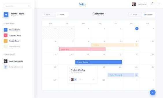 Trello Calendar Full With Images Web App Design Web Design