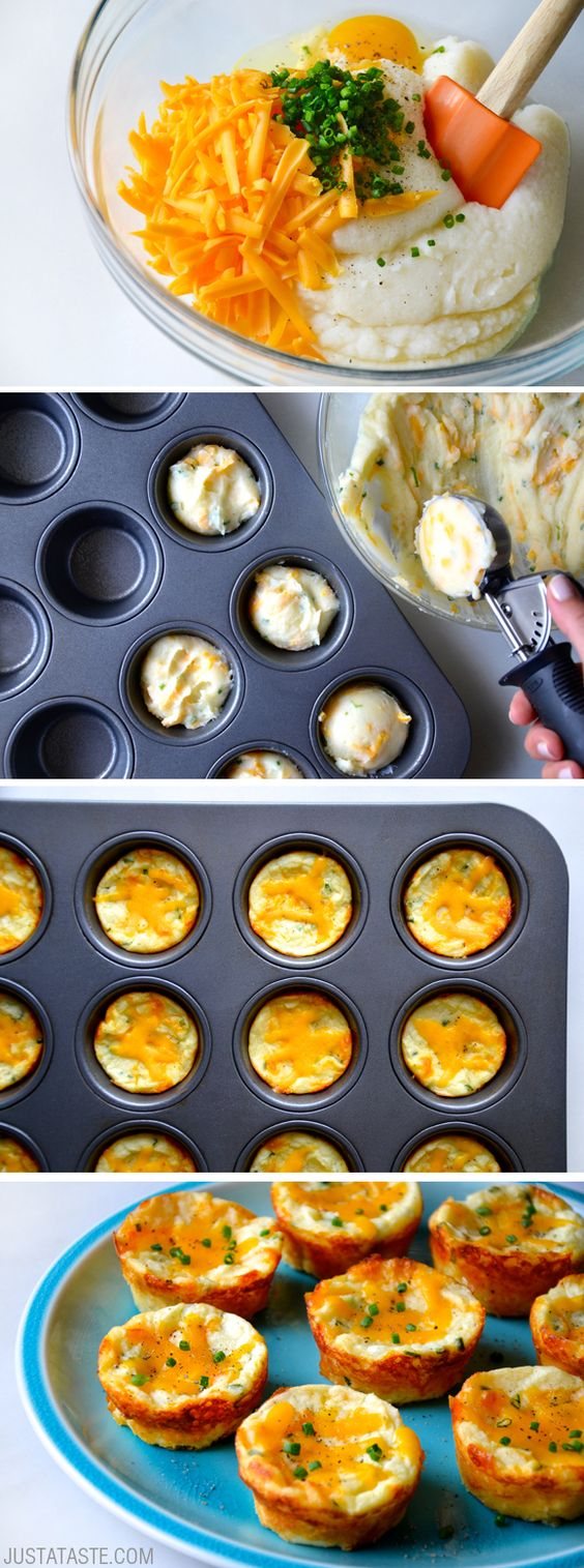 Cheesy Leftover Mashed Potato Muffins #recipe from justataste.com (what's 'leftover' mashed potato?)