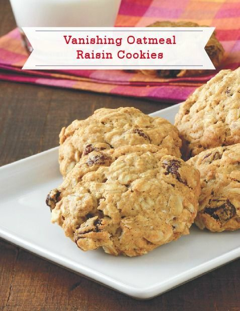 "Happy National Oatmeal Cookie Day! Vanishing Oatmeal Raisin Cookies are called ""vanishing"" cookies for a reason. These soft and delicious treats won't last long once you pull them out of the oven!"